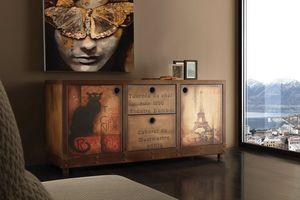 Art. 710CN Industrial Vintage sideboard, Vintage sideboard, rust effect finish and aged wood