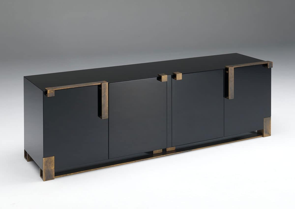 Sideboard for living room cabinet with black lacquered for Sideboard gold