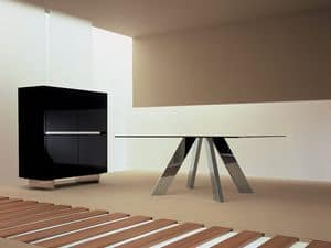 Even A, Sideboard with steel base, for dining rooms