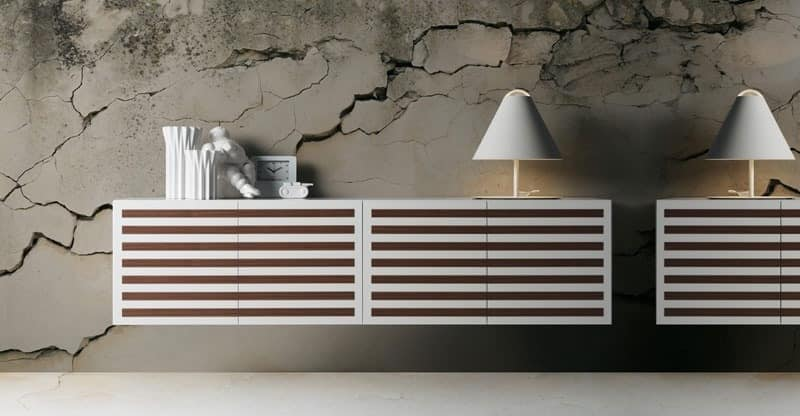 Line 2, Suspended sideboard, 4 hinged doors, several finishes