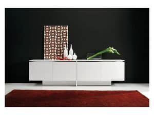 Lybra, Design sideboard with cross base, for dining room