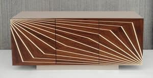 Optik 586, Cupboard in laminate with 3 doors, with geometric patterns