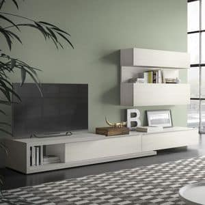 Spazio S309, Wall system for tv, with hi-fi system