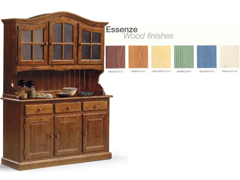 VAD/3, Wooden sideboard with glass cabinet, for rustic kitchen