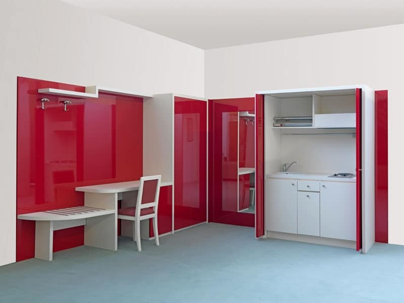 Two Roomed Flat Furniture Hideable Built In Kitchen Unit