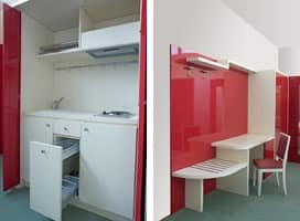 Cherry Collection, Two Roomed Flat Furniture, Hideable Built In Kitchen  Unit,