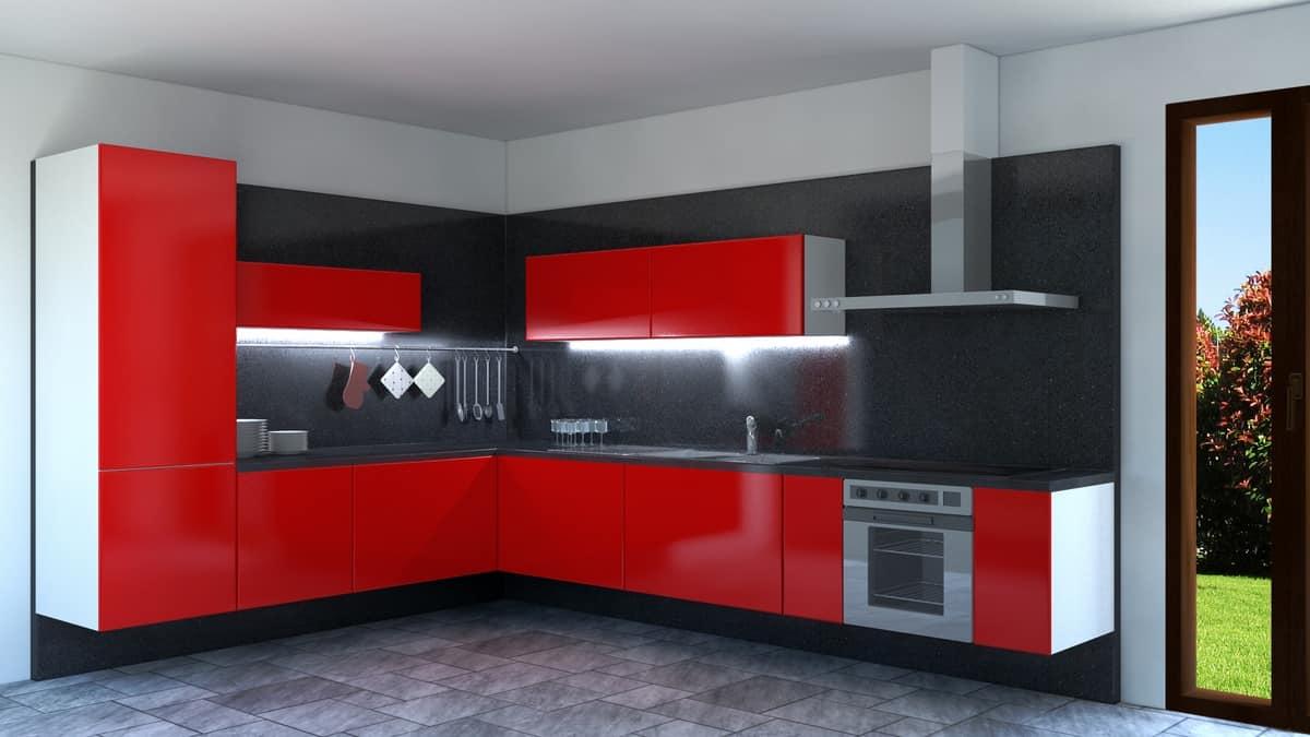 Convivio, Red lacquered corner kitchen