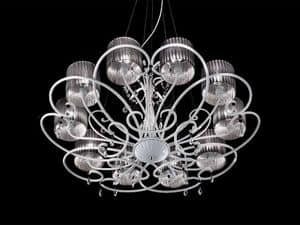 Aida chandelier, Classic suspended lamp with crystal Sw drops