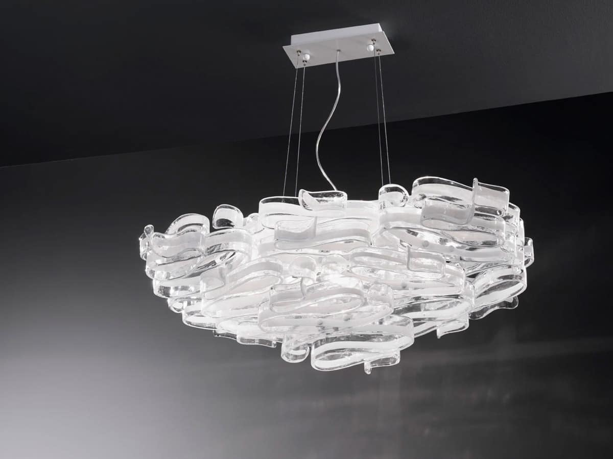 Gloria 1360/S7L, Chandelier in glass and lacquered metal, for modern ...