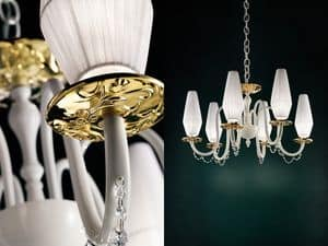 Milady chandelier, Chandelier with metallized glass bobeches