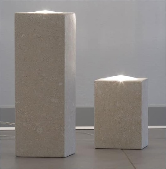 Pollicina, Lamp for home, made of stone, dichroic lighting