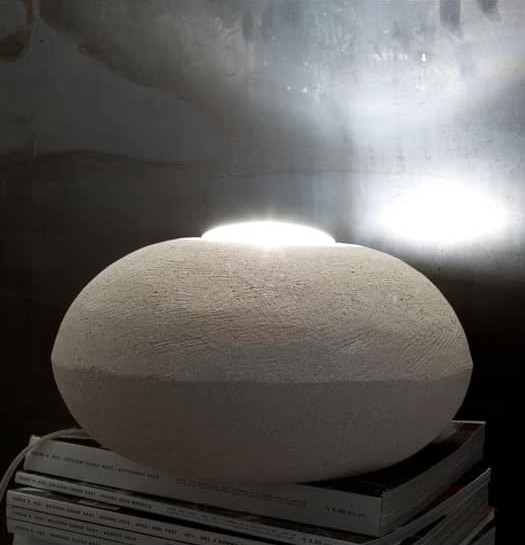 UFO 30, Floor lamp made of stone, round shape