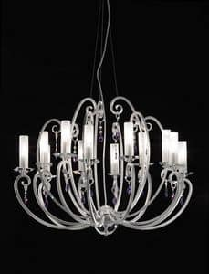 Valentina ceiling lamp, 12-arm chandelier, bobeches and crystal pendants