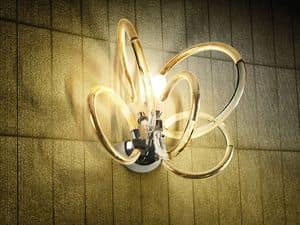 Vogue applique, Wall lamp in brass with wire glass diffusors, classic style