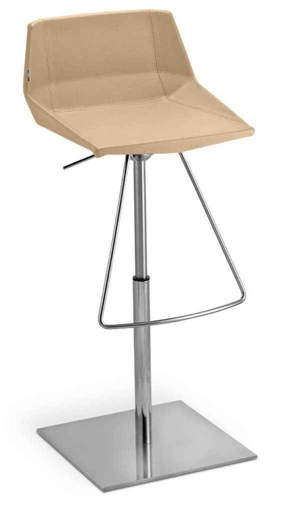 Stool In Metal And Leather With Adjusting Pump Idfdesign