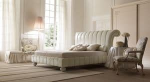Charme 6090 letto, Elegant upholstered bed, covered in leather or fabric, for classic bedrooms