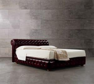 Chester bed, Bed with headboard and bed frame in tufted leather
