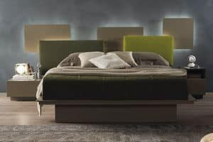Infinity, Bed with backlit panels and container, in leather