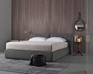 Plume New, Bed with upholstered headboard, in leather