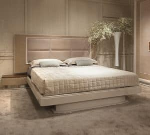 Princess Art. 106.353, Oak bed with integrated bedside tables with steel details
