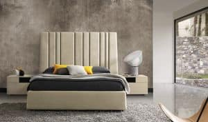 Vicky, Bed with upholstered headboard with vertical dividers