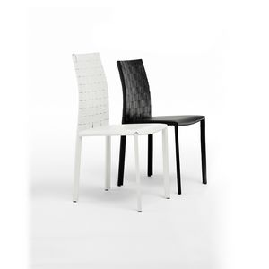 Picture of Agata woven high, leather modern dining chairs