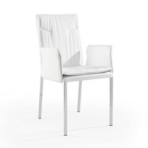 Ariel br chromed, Armchair in fabric or leather