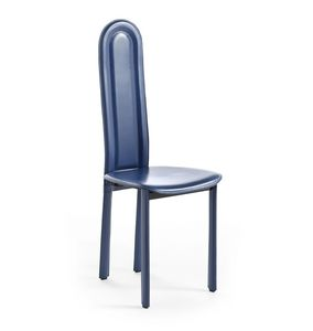 Elisa, Dining chair, with rounded backrest, leather upholstery