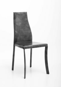 Margot, Steel chair covered entirely in leather