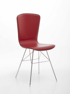 Vichy, Chromed steel chair with leather upholstered seat