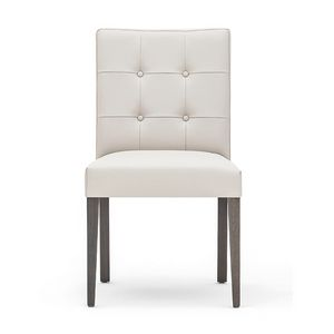 Zenith 01619, Solid wood chair, upholstered seat and back, quilted back, leather covering, for dining rooms