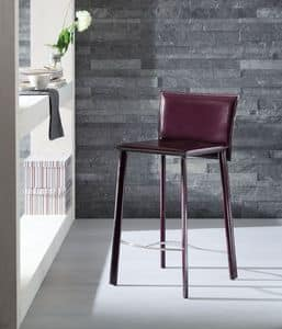 Infinity barstool, Stool covered with leather, available in various colors, for hotel and kitchen