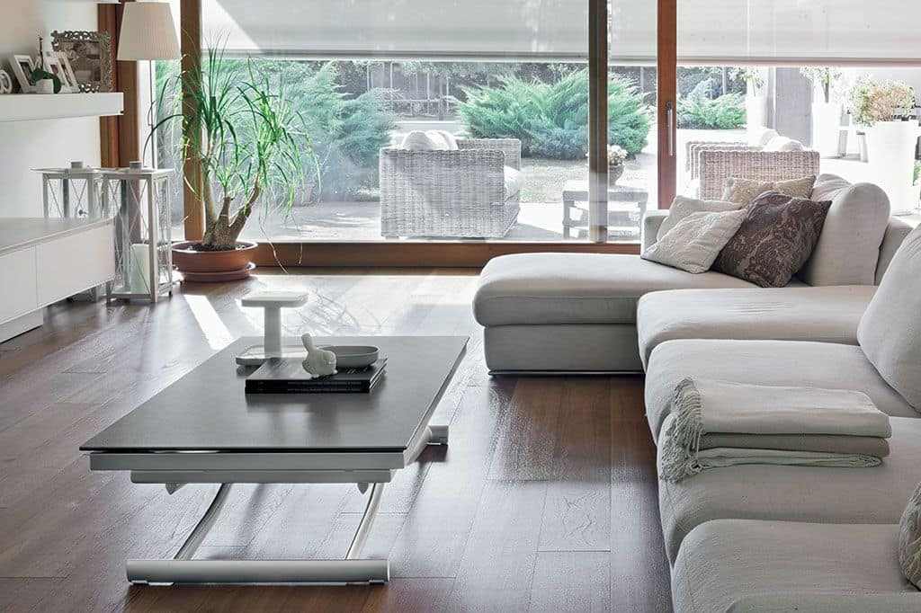 Modern consolle transformable into table top in glass for Table extensible 3m