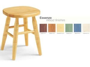H/303, Low stool in solid wood, ideal for piano
