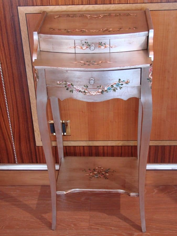 Art. 799, Classic phone holder for home, phone holder with 2 drawers for hotel