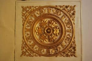 CEILING DECORATIVE PANEL ART. AC 0032, Golden decorative panel, for luxury villas