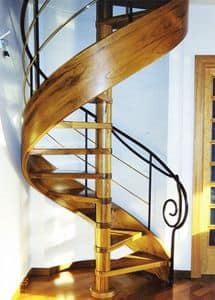 spiral staircases, Spiral staircases, harmonious lines, in mixed materials