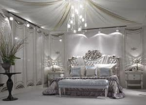 12S151, Quilted bed with silver leaf finishing for luxury hotels