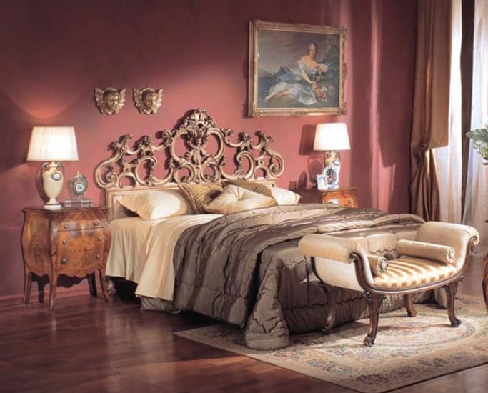 3245 BED, Luxury classic bed, hand carved, silver leaf