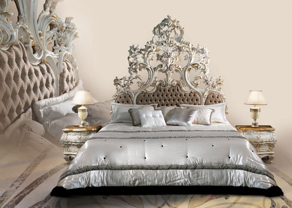 Bed in white lacquered wood, upholstered tufted headboard : IDFdesign