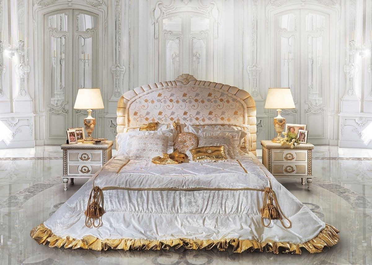 Classic Bed And Bedside Headboard With Floral Decorations