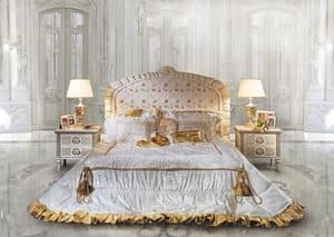 Ambra, Classic Bed and bedside, headboard with floral decorations