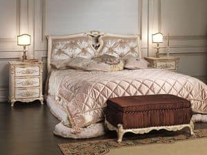 Art. 2006-IM bed, Solid wood bed, headboard in silk, for luxury hotel