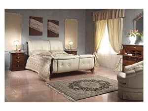 Art. 2036 bed, Bed with leather headboard and feetboard, for hotel bedrooms