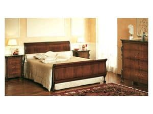 Art. 294 '800 Siciliano, Luxury bed, with decorated headboard, for classic style bedrooms