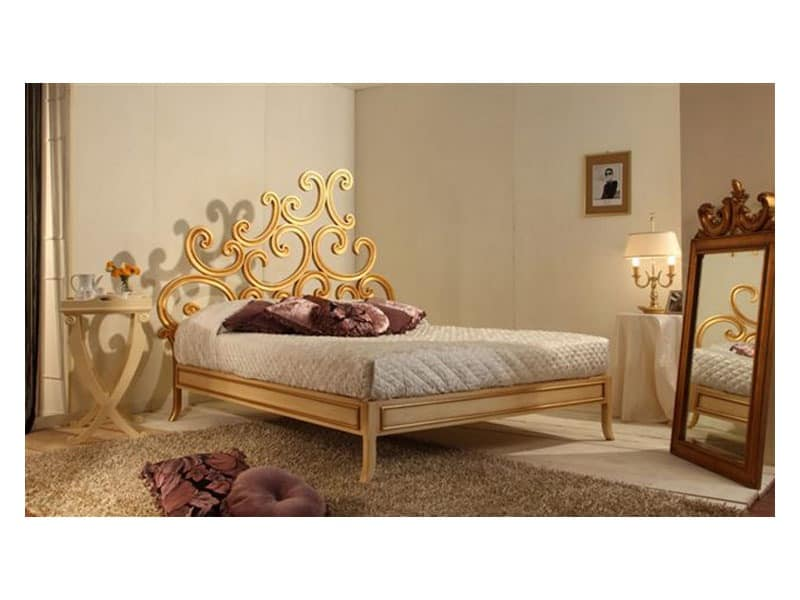 Art 3300 Ricciolo Bed Luxury Classic In Beech Gold Leaf Finishing