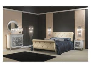 Art 610 Bed, Sumptuously decorated bed, in leather, for classic bedrooms