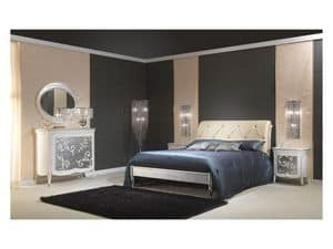 Art. 610-T Bed, Wooden bed with silver finish, padded headboard, for 5 stars Hotel