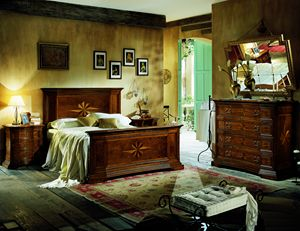 Art. 652 bed, Bed with headboard and footboard inlaid
