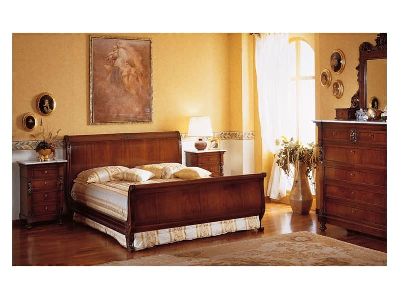 Art. 973 '800 Siciliano, Bed in hand-carved wood, for double bedroom
